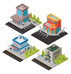 isometric buildings isolated vector image vector image