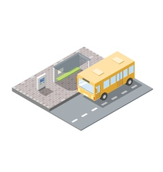Isometric of bus station with ticket sell terminal vector