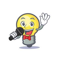 Karaoke light bulb character cartoon vector
