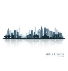 kuala lumpur blue skyline silhouette vector image