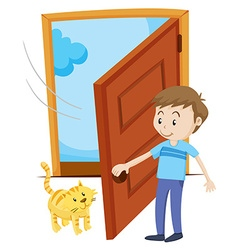 Man open the door for pet cat vector image