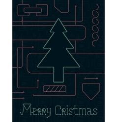Merry Christmas Techno Line Art Bakcground vector image vector image