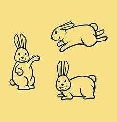 Rabbit simple line art vector