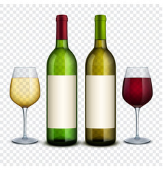 Red and white wine in bottles and wineglasses vector