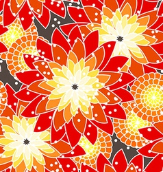 Seamless flower pattern in orange tones vector
