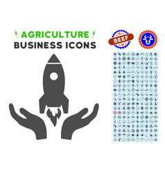Startup icon with agriculture set vector