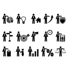 stick figure with business icons vector image vector image
