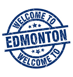 Welcome to edmonton blue stamp vector