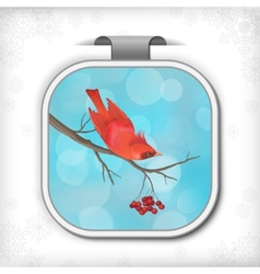 Winter Christmas Sticker Bird Rowan Tree Branch vector image