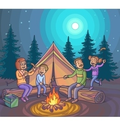 Happy family camping with campfire at night vector