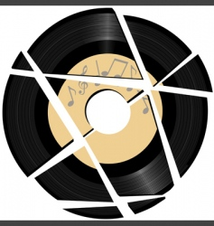 vinyl record with music label vector image