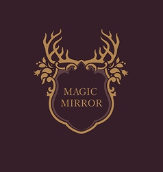 Creative emblem of the magic mirrorantler vector