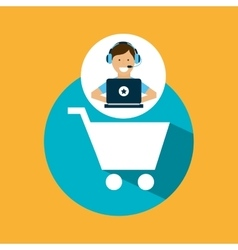 support center with shopping cart vector image