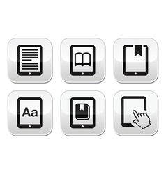 E-book reader e-reader buttons set vector image