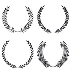 Wreath set silhouette leaves and branches round vector