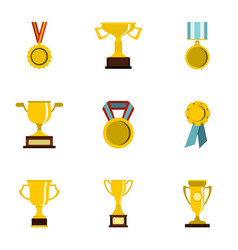Trophy medals and award icons set flat style vector
