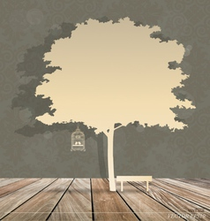 Abstract background with birdcage under under tree vector