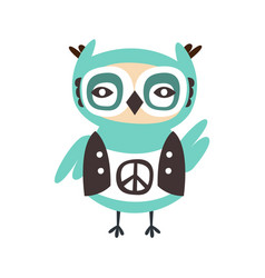 Cute cartoon owl bird with peace sign on its cloth vector