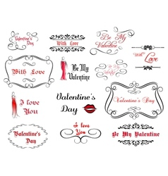 Set of love and valentines calligraphic headlines vector