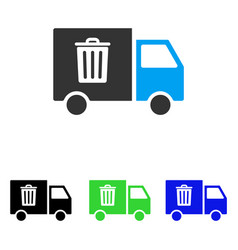 Rubbish transport van flat icon vector