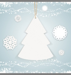Paper christmas tree background on blue vector