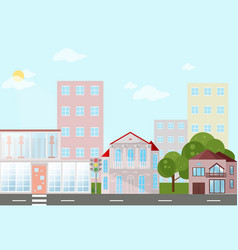 buildings houses village architecture modern flat vector image