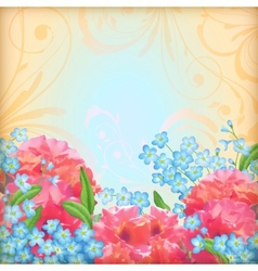 Retro flowers roses background vector