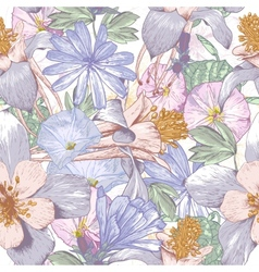 Summer seamless pattern with wildflowers vector