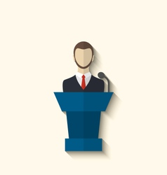 Flat icon of orator speaking from rostrum long vector