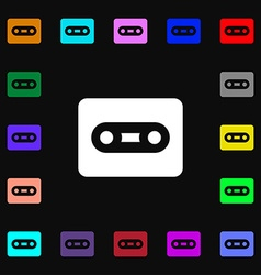 Cassette icon sign lots of colorful symbols for vector