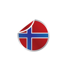 Glossy theme norway national flag vector