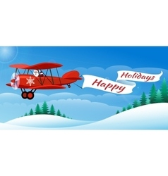 Santa on the airplane vector
