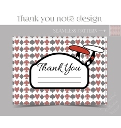 Thank you note - mushroom from wonderland vector