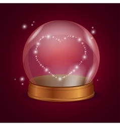 Empty crystal ball valentine heart vector