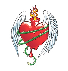 Winged heart with thorns vector