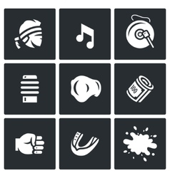 Set of muay thai icons fighter music vector