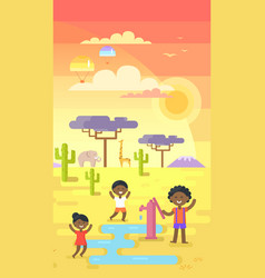 African children playing near water outside tap vector