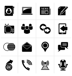 Black media and communication icons vector