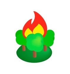 Burning forest trees isometric 3d icon vector image