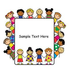 Cartoon kids and white poster vector image