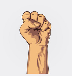 clenched fist held high in protest vector image