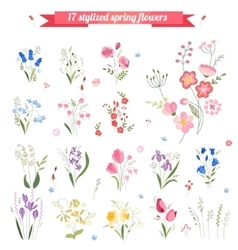 Collection of different stylized spring flowers vector image vector image