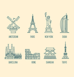 collection of of national landmarks symbol of vector image vector image