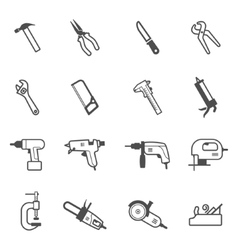 Construction and repair tool icon set vector