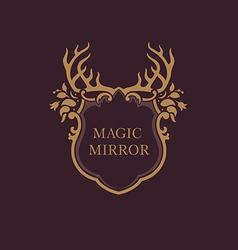 Creative emblem of the magic mirrorantler vector