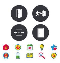 Doors signs emergency exit with arrow symbol vector
