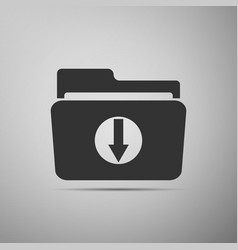 Download arrow with folder icon on grey background vector