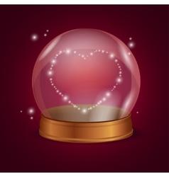 Empty crystal ball valentine heart vector