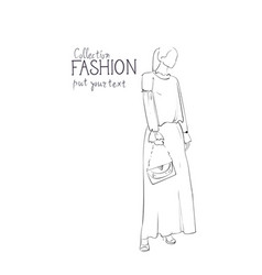 fashion collection of clothes female model wearing vector image vector image