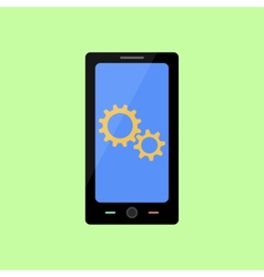Flat style smart phone with gear wheels vector image